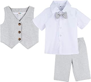 A&J DESIGN Baby and Toddler Boy Gentleman Suit, 3 Piece Short Set Vest & Pants & Shirt