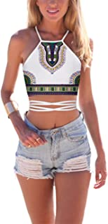 Women's Summer Halter Cross Hollow Boho Bandage Tank Camis Crop Top Vest
