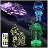 AOEVI Star Wars Gifts, Star Wars Toys 3D Illusion Night Light for Boys Men Fans Father Brorther, 7 Colours Changing and Remote & Timer, Starwars Lamp Room Decor and Birthday Gifts (4 Patterns)