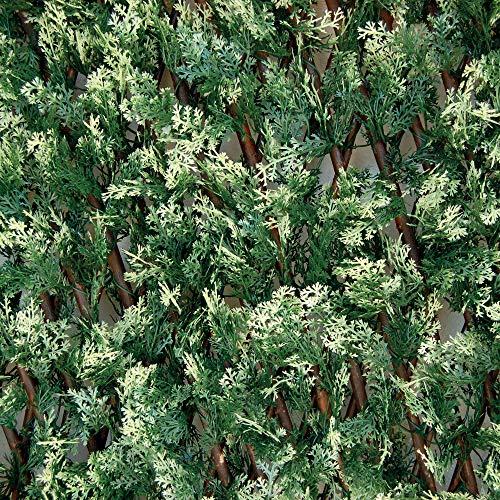tenax Siepe Artificiale con Foglie Traliccio Estensibile in salice, Divy 3D X-Tens Cyprus, 1x2 m, Verde/Bianco