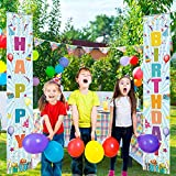 Funnytree Happy Birthday Party Banner Balloons Colorful Children Bday Porch Sign Decoration Set Front Door Wall Hanging Outdoor Indoor Photobooth Prop Windproof Events Supplies Polyester 2PCS