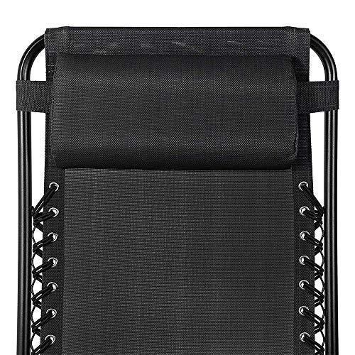 1ABOVE_Set of 2_Folding Reclining Chairs_Heavy Duty Textoline Zero Gravity Chairs_Garden Outdoor Patio Sun Loungers (BLACK)