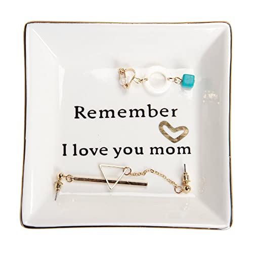 HOME SMILE Ceramic Ring Dish Decorative Trinket Plate Remember I Love You Mom