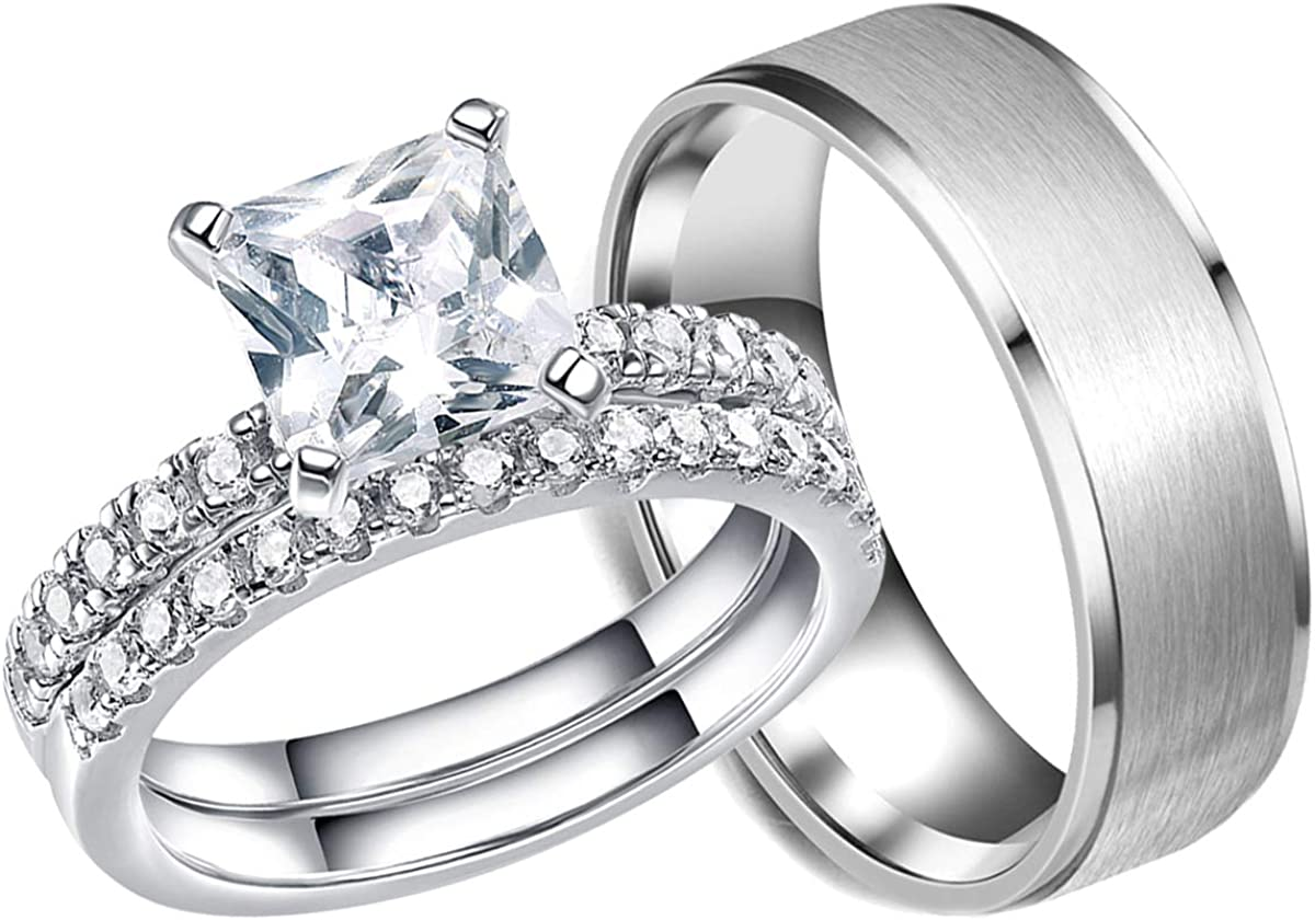 shipfree 1.4Ct Wedding Store Ring Sets for Him and Men Cz Women Ti Her Princess