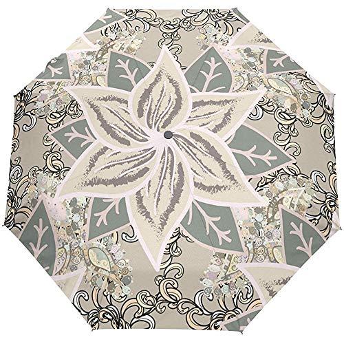 Artista Vintage Mandala Floral Auto Abrir Cerrar Paraguas Lluvia Sol