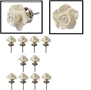 10 Pack Drawer Knobs Rose Shape Ceramic 30mm Cabinet Knobs Pull Handles for Home Kitchen Wardrobe Cupboard Accessories Designer Fancy Knobs