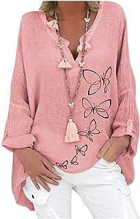 LULUJI Lulupi Damen Oversize Leinenbluse Elegant Schmetterling Druck Shirt Bluse Leinen V-Ausschnitt Longshirt Oberteile Tunika Lose Lang Tops