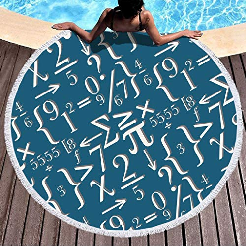 Shinelly Mathematik Muster Strandtuch,Yogamatte,Indisches Mandala,Rund,Baumwolle,Tischdecke Strandtuch, runde Yogamatte,Schal,59in Strand Freizeit
