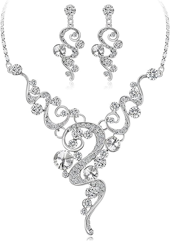 SISAVE Women Wedding Bride Necklace+Earrings Jewelry Set (A, One Size)