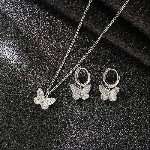 WDBUN Collar Colgante Joyas Conjunto de Collar de Mariposa de circón Pendientes de Mariposa de Temperamento Conjunto de Collar Exquisito de Moda cumpleaños Fiesta Regalo