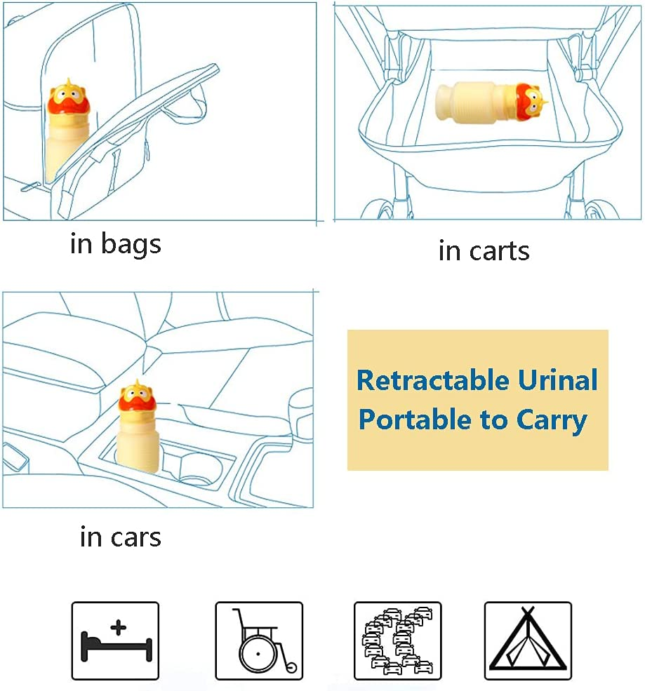 FUNLLY Portable Emergency Urinal for Kids Boys Girl, Reusable Stretchable Mobile Toilet Potty Pee Bottle with Cover Spill Proof for Outdoor Traffic Jam in Car Camping Travel Outdoor Standing Up Pee