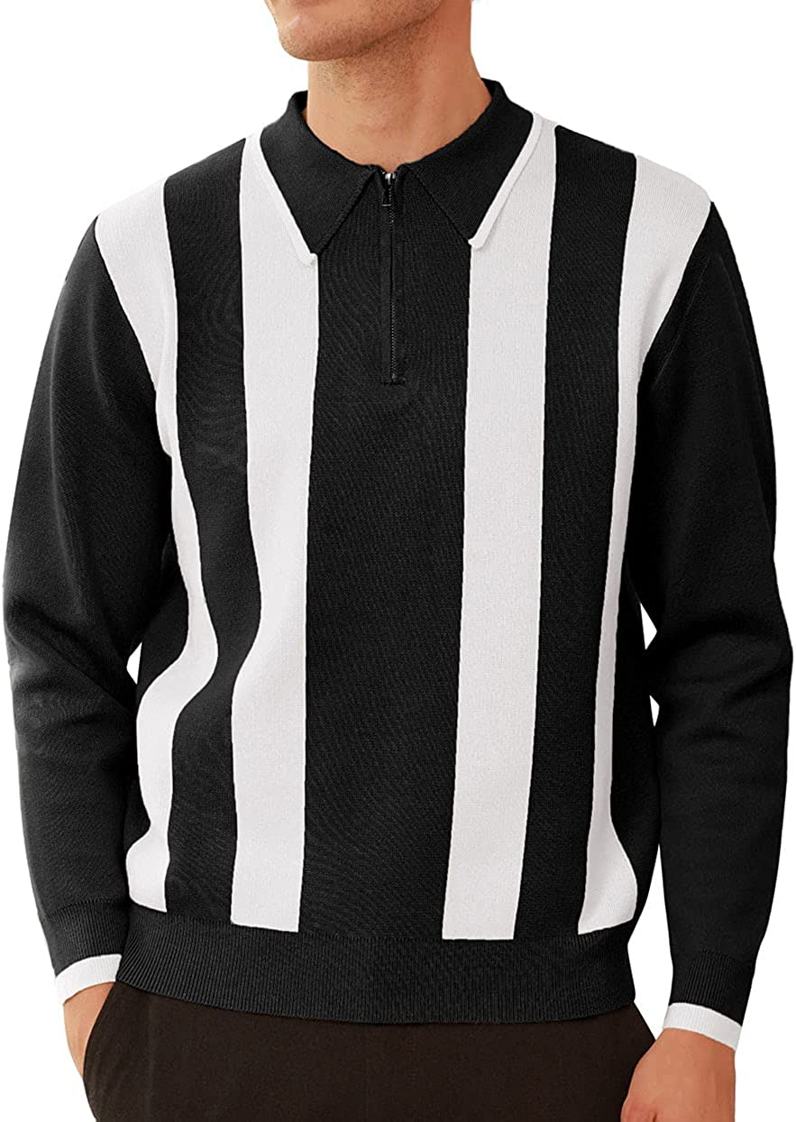 GRACE KARIN Men's Striped Pullover Sweater Quarter Zip Knitted Contrast Polo Pullover Knitwear Tops