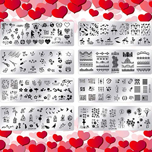 8 Pieces Valentine's Day Nail Stamping Plates High Heel Heart Nail...