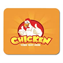 AOHOT Alfombrillas de ratón Red Fried Happy Funny Cartoon Rooster Chicken Giving Thumbs Up Two Hand on Orange Yellow Chef 9.5