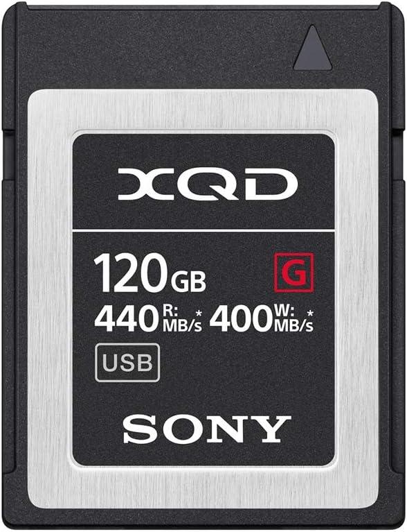 Sony - Tarjeta de Memoria Flash XQD de 120 GB (128 GB preformato) 5 x Tough Serie G de Alta Velocidad (Lectura de 440 MB/s y Escritura 400 MB/s) - QDG120F