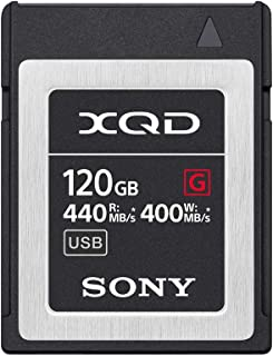 Sony 120GB (128GB pre Format) 5X Tough XQD Flash Memory Card - High Speed G Series (Read 440MB/s and Write 400MB/s) - QDG120F