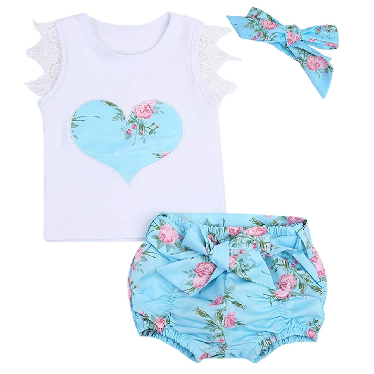 Lovely O-Neck Sleeveless Floral Toddler Baby Girls Outfits 3PS Clothes T-Shirt Tops+Shorts +Headband 0-3Y