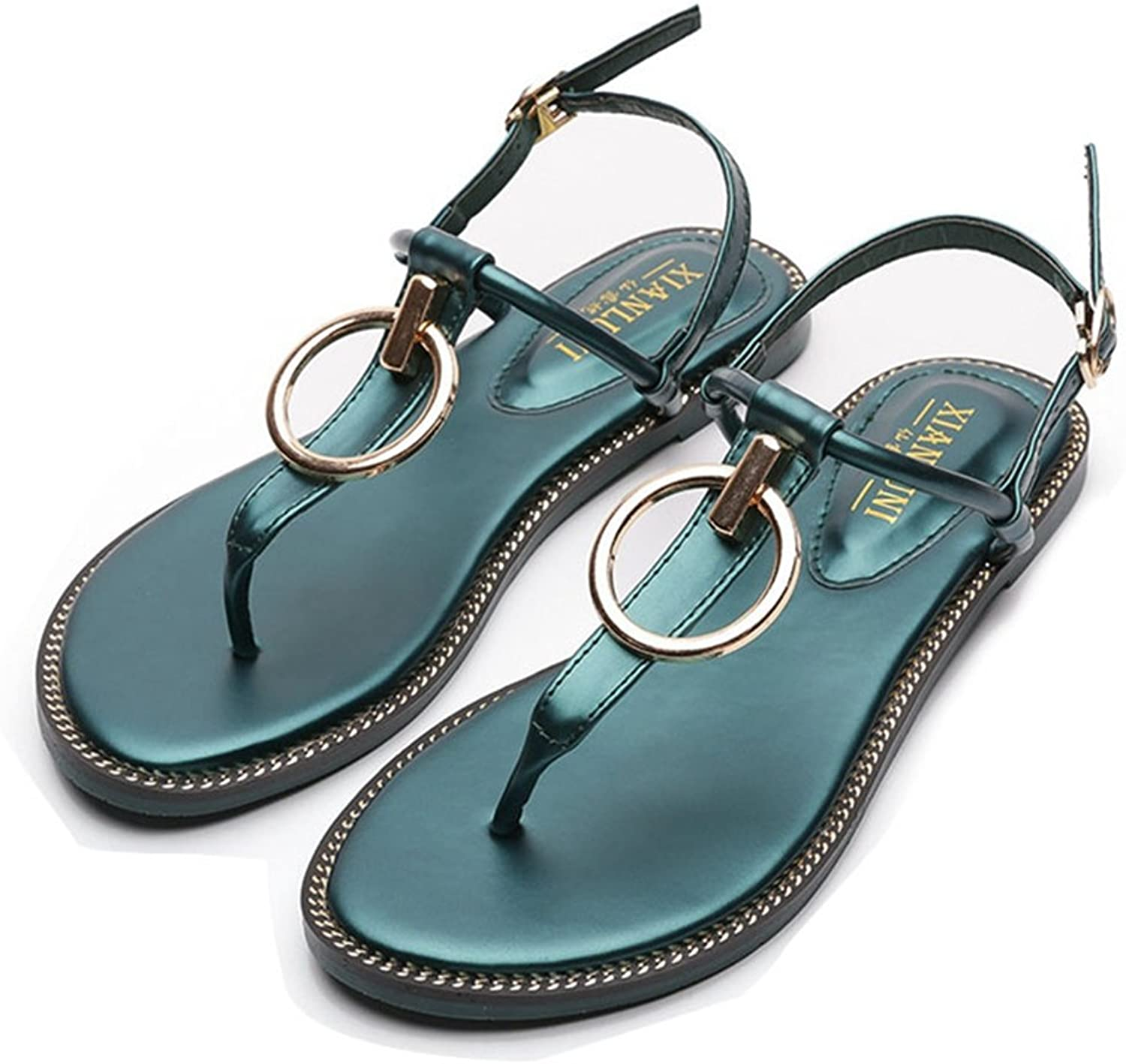 GIY Womens T-Strap Sparkly Summer Beach Thong Flat Sandals Ankle Buckle Gladiator Flip Flop Sandal Dress shoes