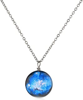 Classic Blue Round Women Custom Universe Necklace Chain Cool Style Wonderful Long Decoration Necklace Sliver,A