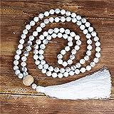 yuetong 108 perline collana mala 8mm collana di pietre naturali bianche con lunghe nappe yoga di meditazione collana gioielli a dropship