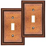 Cover Star Raised Pearls Decorative Wall Plate Switch Plate Outlet Cover (Single Toggle, 2 Pack, Sponged Copper)