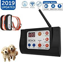 OCACA [2019 Updated] Remote Dog Training Collars with Wireless Dog Fence 2 in 1 System, Outdoor Adjustable Sound/Vibration/Shock Function, Waterproof & Rechargeable Harmless for All Dogs- 1 Collar