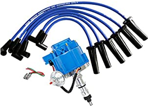A-Team Performance HEI Distributor Blue Cap, Blue Silicone Spark Plug Wires Set and Pigtail Wiring Harness Kit Compatible with Ford 240 and 300 Engines F100 F150 F250 E150