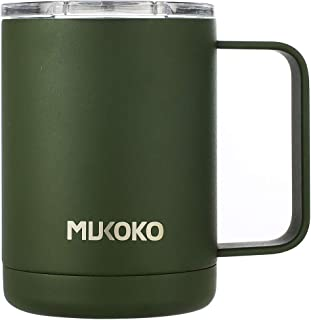 16 oz Insulated Coffee Mug With Lid and Handle Double Wall Vacuum Sealed Camp Cup-For Hot or Cold (16oz, Green)