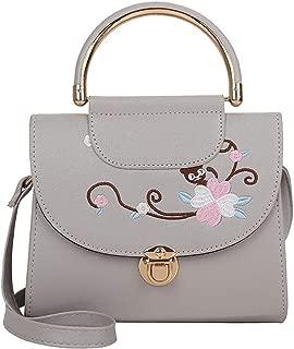 TOOGOO Embroidery Bag Ladies Handbag Casual Bag Messenger Bag Leather Handbag Shoulder Bag Black