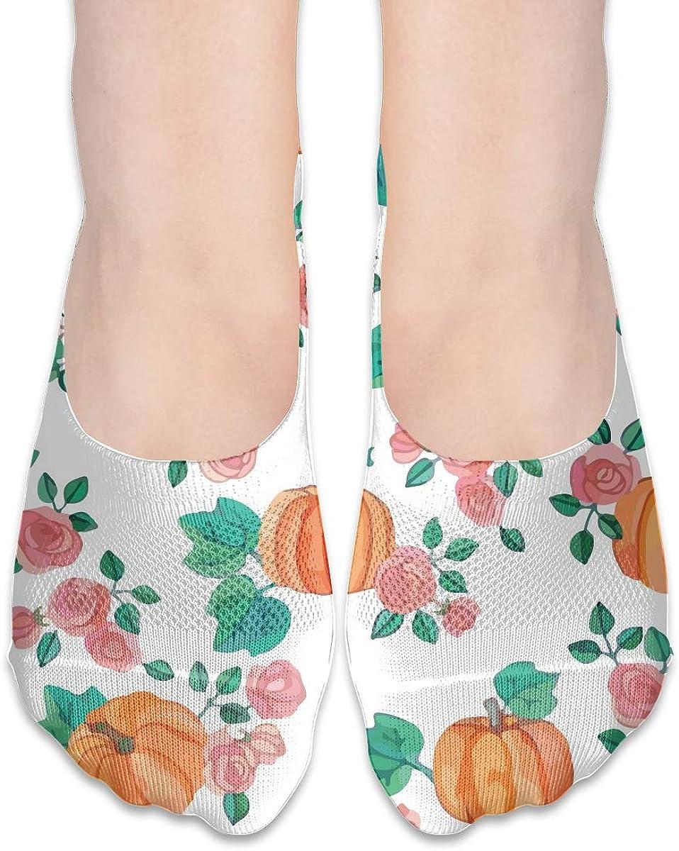 No Show Socks Women Men For Pumpkins Roses Watercolor Flats Cotton Ultra Low Cut Liner Socks Non Slip