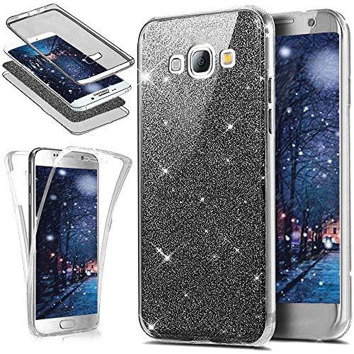 Jinghuash Compatible avec Samsung Galaxy J5 2016 Coque 360 Degrés Full Body Protection Pailleté Brillant Bling Glitter Transparent Ultra Mince Souple TPU Silicone Gel Case Housse Etui-Noir
