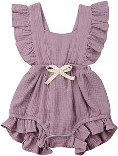 WOCACHI Baby Girls Romper Newborn Infant Bowknot Lace Flutter Sleeve Ruffles Backcross Summer Bodysuit Onesie Outfits