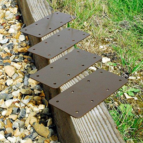 4x Gerade Holz Eisenbahn Sleeper Klammern Holz Übertopf Hochbeet Einfassung, Braun