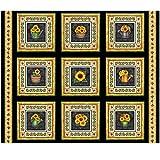 Fabric & Fabric QT Fabrics Digital Always Face Sunshine 36'' Blocks Panel, Black