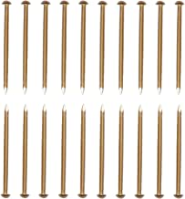 RZDEAL 50 PCS 0.12'' x 2.0'' Round Head Brass Nails for Hinges Boxes Craft Projects(DIY)