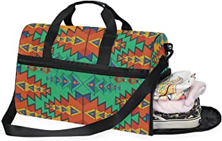 Travel Tote Luggage Weekender Duffle Bag, Aztec Pattern Art Large Canvas shoulder bag with Shoe Compartment