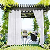 NICETOWN Patio Curtain Waterproof for Outdoor Extra Long 120', Rustproof Grommet Voile Sheer Elegant Quick & Easy to Dry for Pool/Pergola, 1 Pack with Rope Tieback, 54 Inch Wide, White