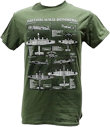 6c12d3f4 British World War II Bombers - Aircraft/Military T Shirt with blueprint  design