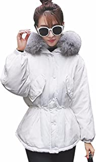 QIYUN.Z Women's Slim Hooded Duck Down Puffer Short Quilted Jacket Parka Coat Winter Warm Fur Coat Jacket US 6-8