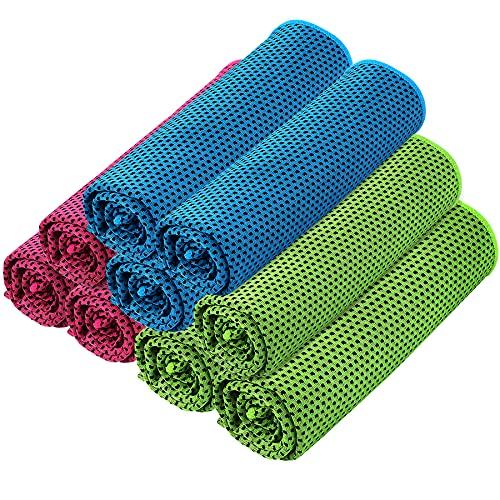 9 toallas de enfriamiento a presión para cuello absorbente microfibra toalla de hielo de secado rápido para yoga, gimnasio, deportes, camping, fitness, correr, ejercicio