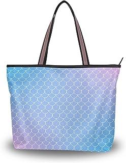 My Daily Damen Schultertasche mit Farbverlauf, Fischschuppen-Meerjungfrauenschwanz-Handtasche