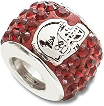 Sterling Silver University of Mississippi NCAA Mississippi Jewelry Beads UNIV OF MIPREMIER CRYSTAL BEAD CHARM