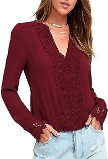 BMJL Women's Lace Splicing Top Deep V Neck Blouse Casual Long Sleeve Shirt Tees