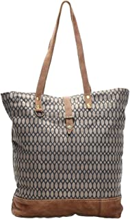 Canvas Womens Tote Bags Honey Bee Print Recycled Canvas Leather Trim Handle Tote Bag 17 X 16.5 Inches Multicolored