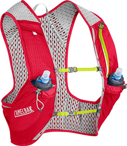 CamelBak Nano Vest 17 oz Quick Stow Flask Hydration Pack, Medium, Crimson Red/Lime Punch