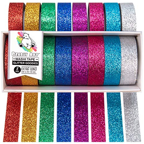 Glitter Decorative Tape Set for DIY Crafts - Scrapbooking and Paper Crafts - 8 Colors Extra Long Rolls - 15mm Wide and 5m Long
