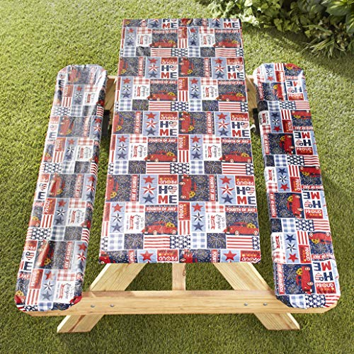 The Lakeside Collection Picnic Table and Bench Seat Covers with Elastic Edges - Americana - 3 Pieces