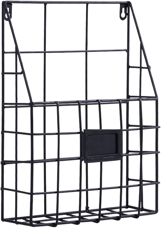 Chunlan bookshelf Iron Wall-Mounted Multi-Function Bookshelf (color   Black, Size   26.5  8  35.5cm)
