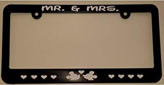 Bro Joe's Decals Mr. & Mrs. Mickey Mouse & Minnie Mouse in Love License Plate Frame Great Gift for Newlyweds, Just Married, Wedding or Anniversary Disney Disneyland Fan Couple Husband Wife
