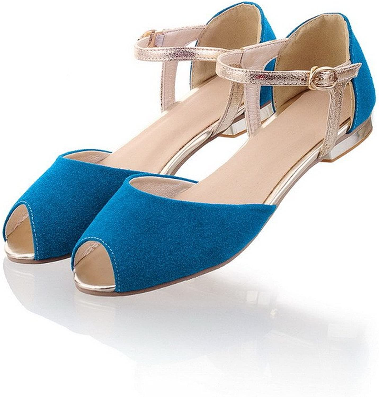 AmoonyFashion Womens Open Peep Toes Imitated Suede Frosted Solid Sandals, bluee, 10 B(M) US